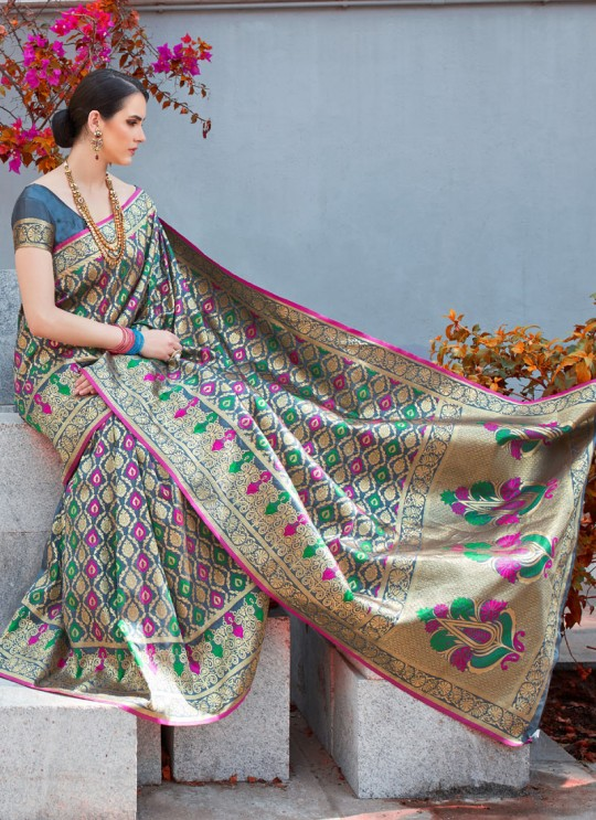 Grey Handloom Silk Wedding Saree Kilfi 86001 By Rajtex