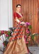 Orange Handloom Silk Wedding Saree Kilfi 86002 By Rajtex