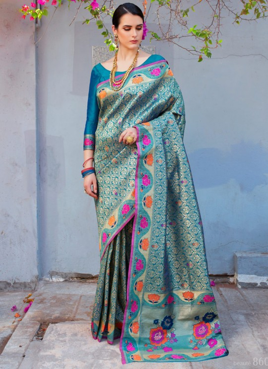 Blue Handloom Silk Wedding Saree Kilfi 86003 By Rajtex