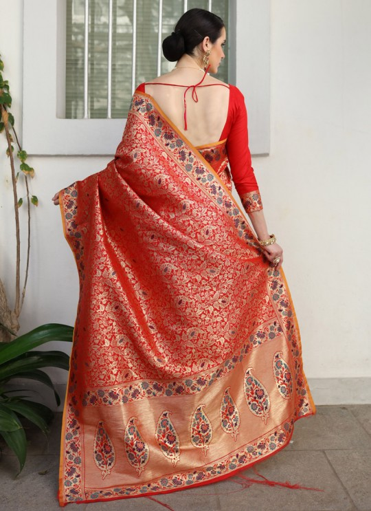 Red Handloom Silk Wedding Saree Kilfi 86006 By Rajtex
