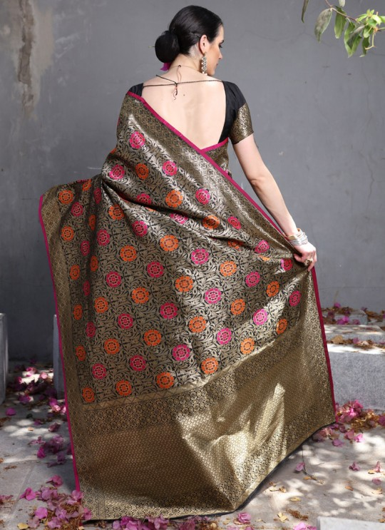 Black Handloom Silk Wedding Saree Kilfi 86007 By Rajtex