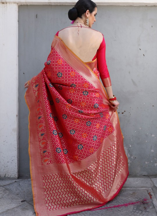Pink Handloom Silk Wedding Saree Kilfi 86010 By Rajtex