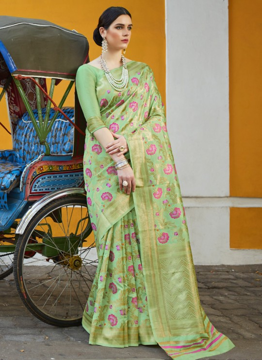 Green Handloom Silk Wedding Saree  Klayanam 88011 By Rajtex