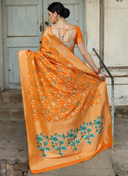 Orange Handloom Silk Wedding Saree Karmala Silk 89002 By Rajtex