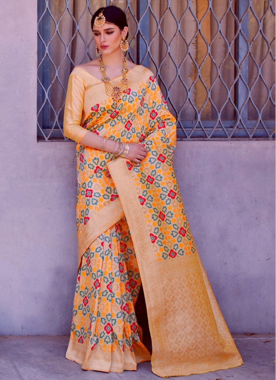 Cream Handloom Silk Wedding Saree Karmala Silk 89003 By Rajtex