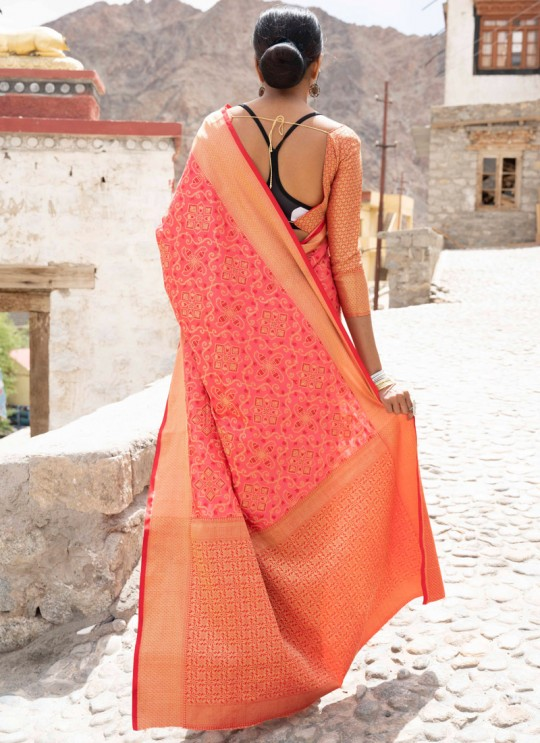 Pink Handloom Silk Casual Saree Kalash 92001 By Rajtex