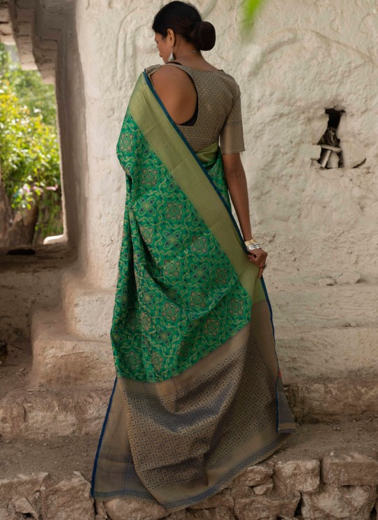 Green Handloom Silk Casual Saree Kalash 92007 By Rajtex