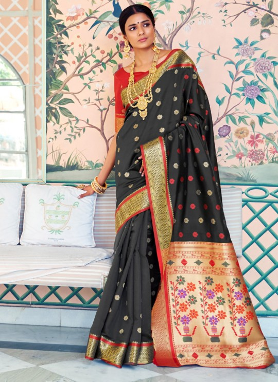 Black Pure Paithani Silk Designer Saree KASTURI SILK 95003 By Rajtex