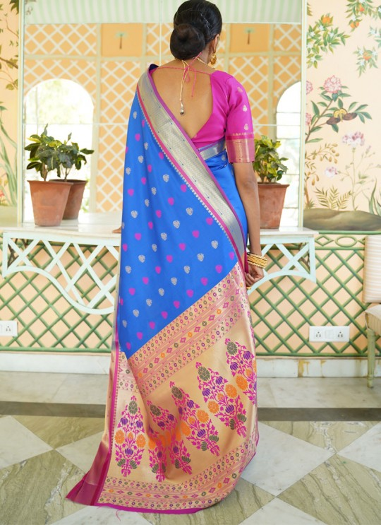 Blue Pure Paithani Silk Designer Saree KASTURI SILK 95005 By Rajtex