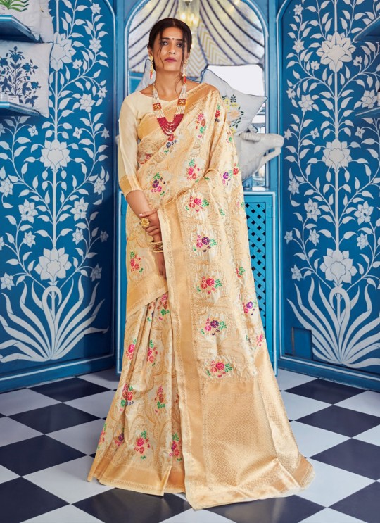 Cream Handloom Silk Party Wear Saree KATYANI SILK 96003 By Rajtex
