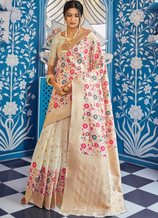Off White Handloom Silk Party Wear Saree KATYANI SILK 96005 By Rajtex