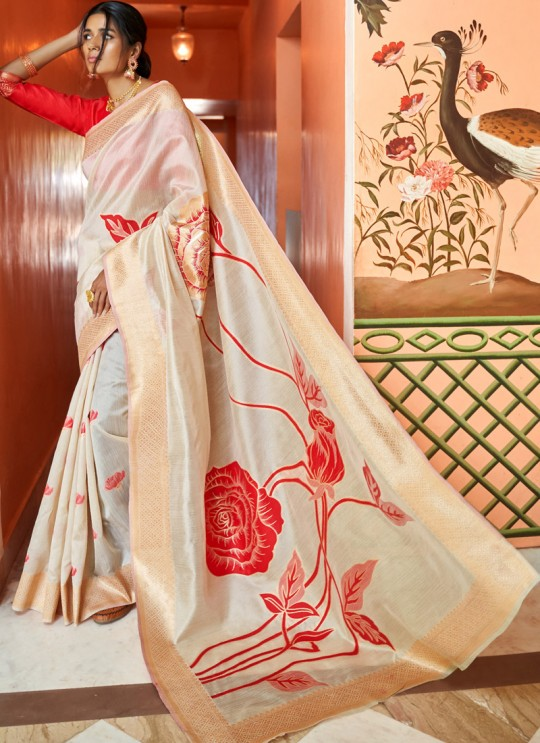 Off White Handloom Silk Party Wear Saree KUSHAA SILK 97002 By Rajtex