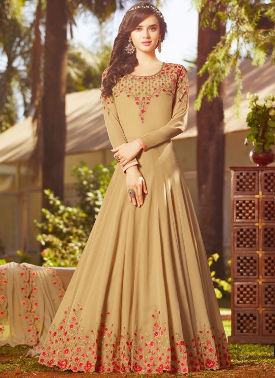 Beige Georgette Wedding Wear Abaya Style Anarkali Raazi Vol 8 20026 By Rama Fashions SC/013972