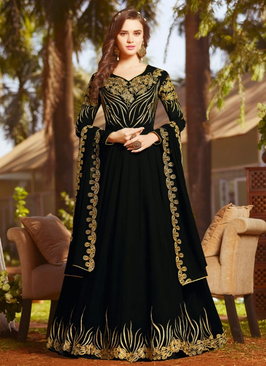 Black Georgette Wedding Wear Abaya Style Anarkali Raazi Vol 8 20029 By Rama Fashions SC/013975