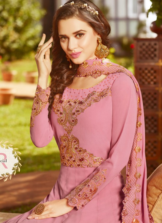 Pink Georgette Wedding Wear Abaya Style Anarkali Raazi Vol 8 20030 By Rama Fashions SC/013976