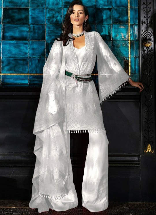 White Net Party Wear Pakistani Suit SC/017129