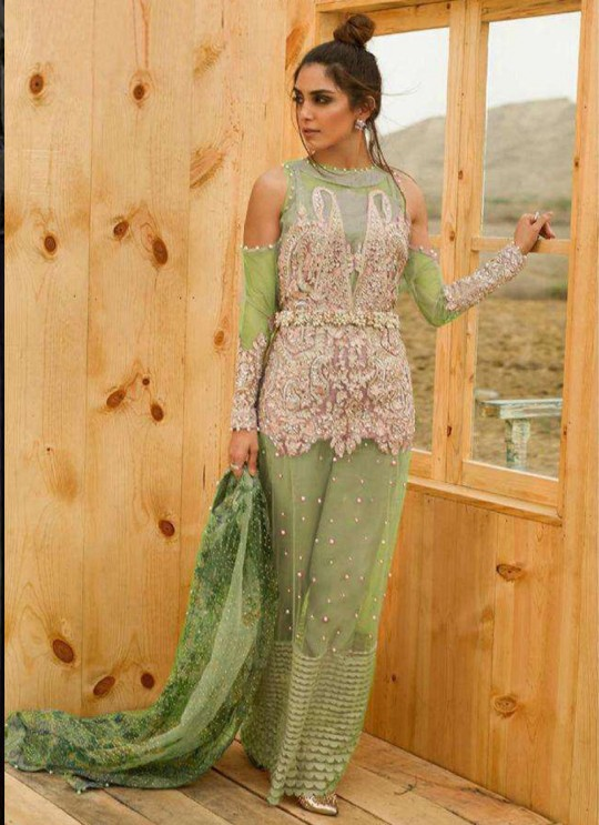 Net Green Pakistani Suit For Mehandi Ceremony SC/017178