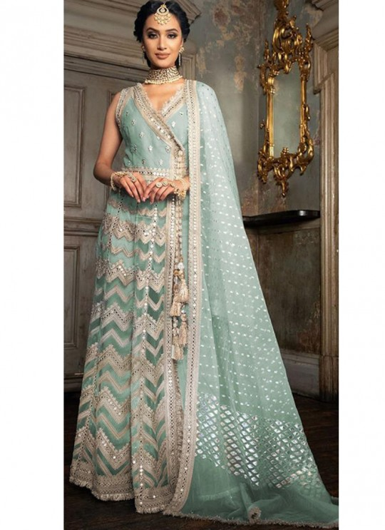 Festival Wear Net Pakistani Suit In Turquoise Color SC/017159