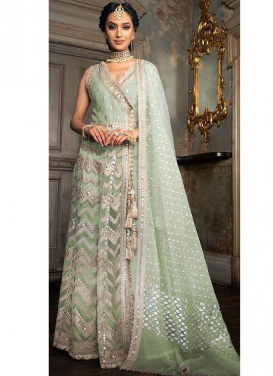 Festival Wear Net Pakistani Suit In Green Color SC/017161