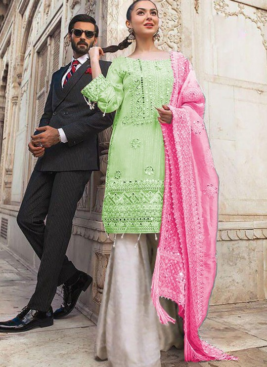 Pista Green Chiffon Wedding Wear Pakistani Suit SC/016977