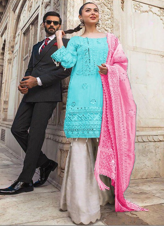Turquoise Chiffon Wedding Wear Pakistani Suit SC/017166