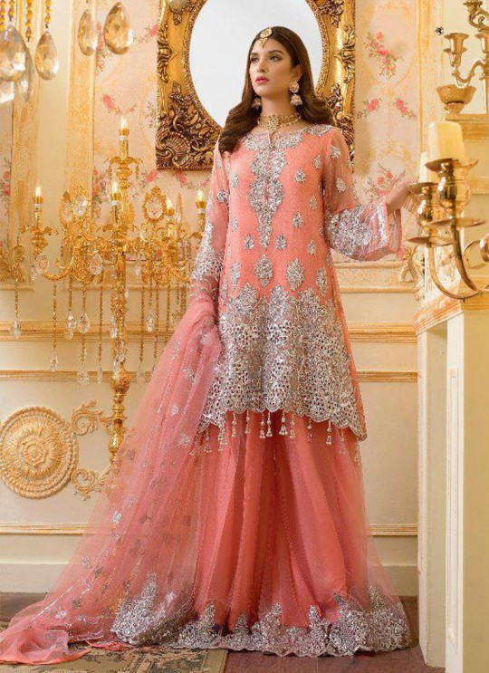 Orange Georgette Wedding Wear Pakistani Suit SC/017212