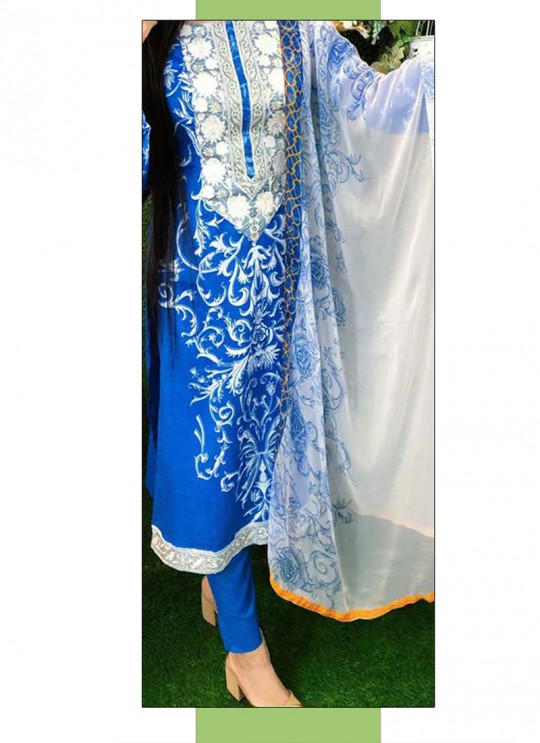 Blue Lawn Cotton Festival Wear Pakistani Suit SC/017290