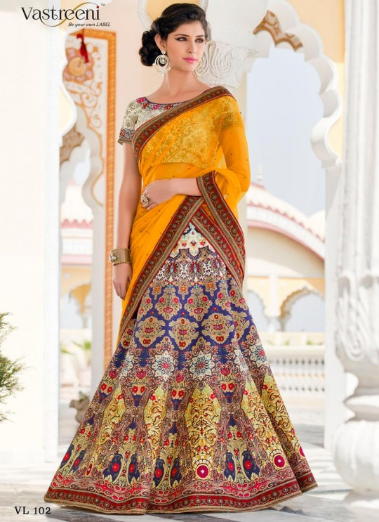Cream Silk Wedding Wear 2 in 1 A-Line Lehenga & Gown Signature Collection Season 1 VL102A By Vastreeni