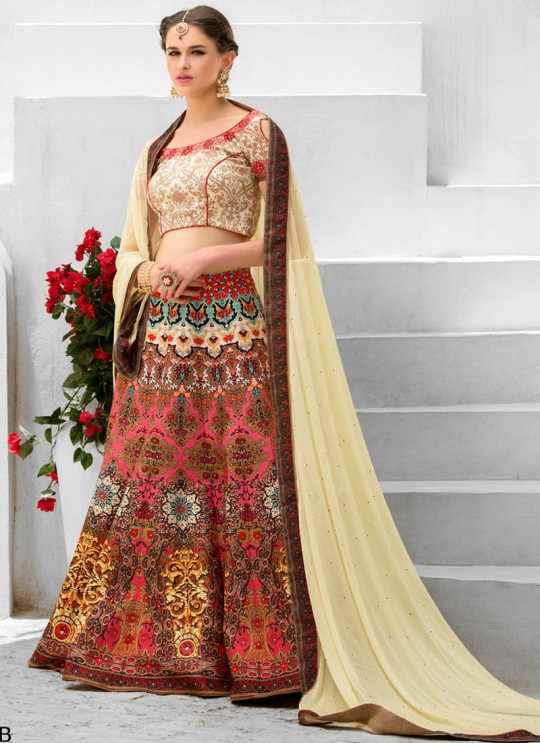 Cream Silk Wedding Wear 2 in 1 A-Line Lehenga & Gown A-Line Lehenga Signature Collection Season 1 VL102B By Vastreeni
