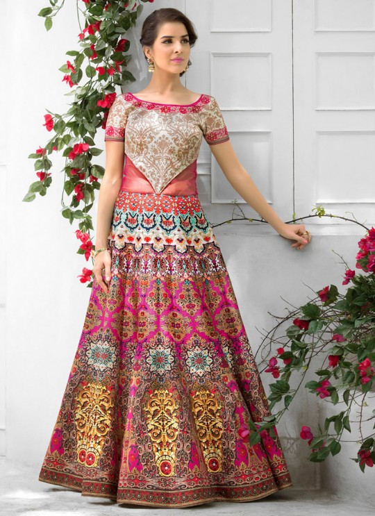 Cream Silk Wedding Wear 2 in 1 A-Line Lehenga & Gown  A-Line Lehenga Signature Collection Season 1 VL102D By Vastreeni