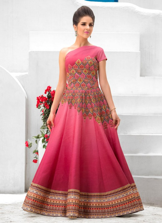 Pink Silk Wedding Wear 2 in 1 A-Line Lehenga & Gown  A-Line Lehenga Signature Collection Season 1 VL103C By Vastreeni