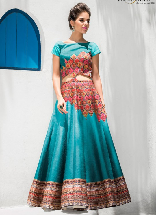 Turquoise Silk Wedding Wear 2 in 1 A-Line Lehenga & Gown  A-Line Lehenga Signature Collection Season 1 VL103D By Vastreeni