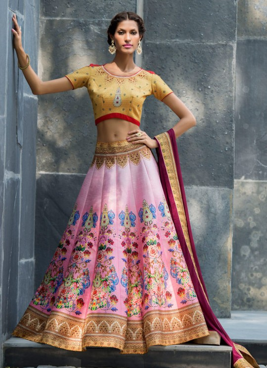 Beige Silk Wedding Wear 2 in 1 A-Line Lehenga & Gown  A-Line Lehenga Signature Collection Season 1 VL105C By Vastreeni