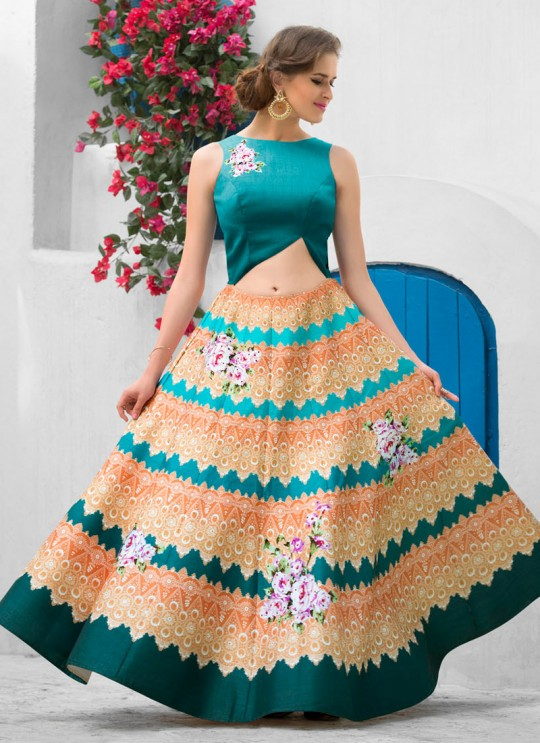 Teal Green Silk Wedding Wear 2 in 1 A-Line Lehenga & Gown  A-Line Lehenga Signature Collection Season 1 VL106B By Vastreeni