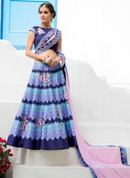 Blue Silk Wedding Wear 2 in 1 A-Line Lehenga & Gown A-Line Lehenga Signature Collection Season 1 VL106D By Vastreeni