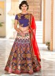 Blue Pure Satin Wedding Wear 2 in 1 A-Line Lehenga & Gown  A-Line Lehenga Signature Collection Season 1 VL107A By Vastreeni