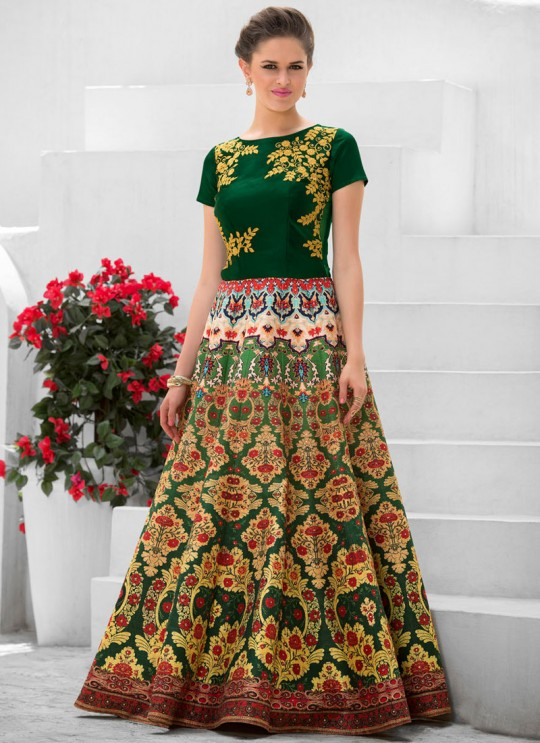 Green Pure Satin Wedding Wear 2 in 1 A-Line Lehenga & Gown  A-Line Lehenga Signature Collection Season 1 VL107B By Vastreeni