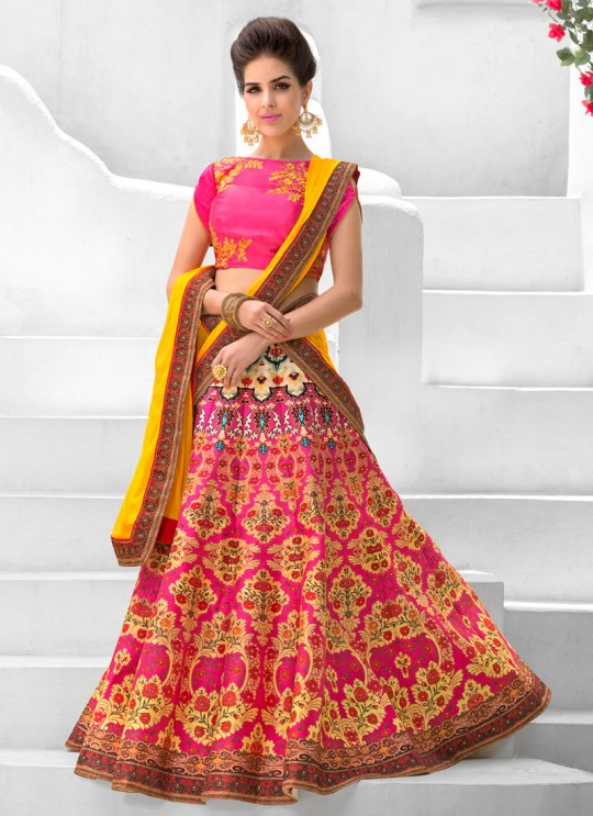 Pink Pure Satin Wedding Wear 2 in 1 A-Line Lehenga & Gown  A-Line Lehenga Signature Collection Season 1 VL107C By Vastreeni
