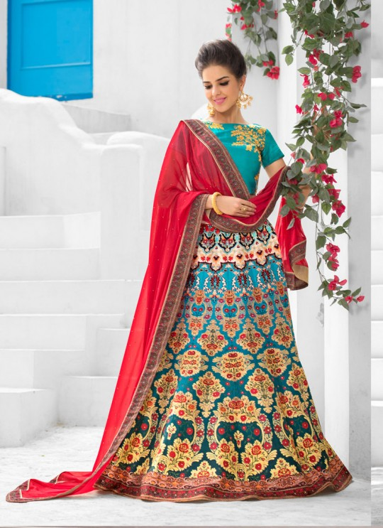Teal Blue Pure Satin Wedding Wear 2 in 1 A-Line Lehenga & Gown  A-Line Lehenga Signature Collection Season 1 VL107D By Vastreeni
