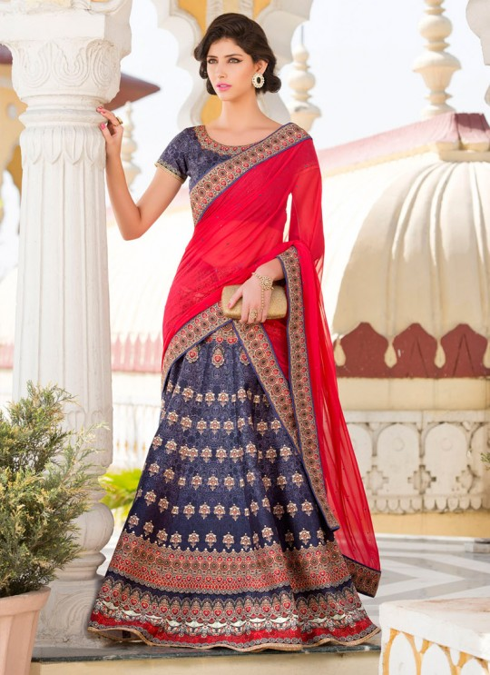 Blue Pure Satin Wedding Wear 2 in 1 A-Line Lehenga & Gown  A-Line Lehenga Signature Collection Season 1 VL108A By Vastreeni