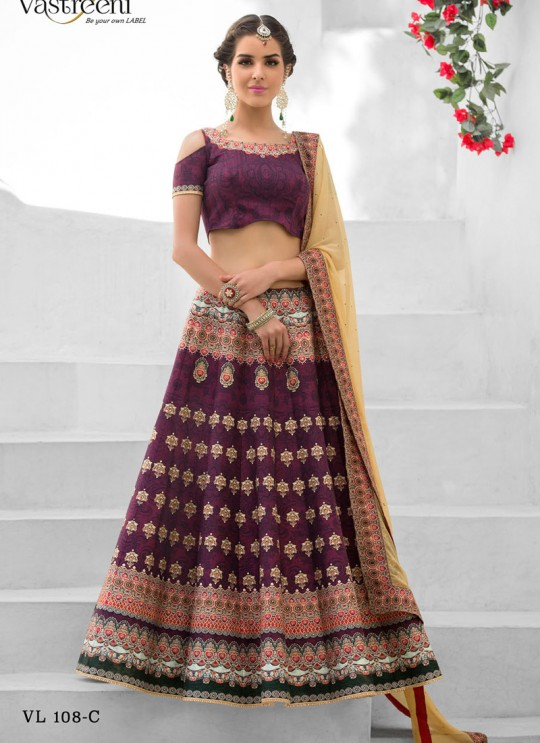 Brown Silk Wedding Wear 2 in 1 A-Line Lehenga & Gown  A-Line Lehenga Signature Collection Season 1 VL108C By Vastreeni