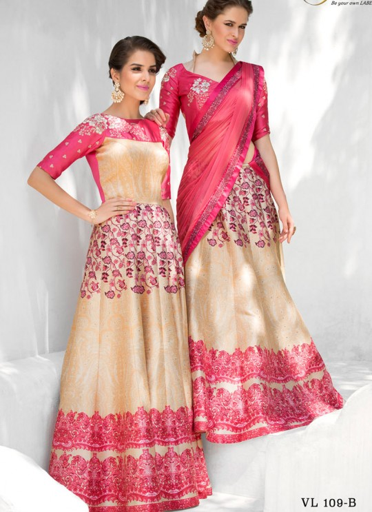 Pink Silk Wedding Wear 2 in 1 A-Line Lehenga & Gown  A-Line Lehenga Signature Collection Season 1 VL109B By Vastreeni