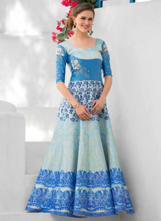 Blue Silk Wedding Wear 2 in 1 A-Line Lehenga & Gown  A-Line Lehenga Signature Collection Season 1 VL109C By Vastreeni