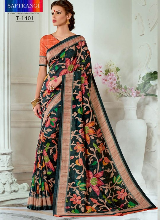 Orange Tussar Silk Party & Festival Wear Digital Printed Sarees Tussar Silk Vol-1 T-1401 By Saptrangi
