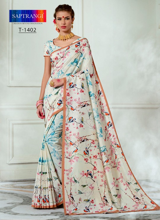 Cream Tussar Silk Party & Festival Wear Digital Printed Sarees Tussar Silk Vol-1 T-1402 By Saptrangi