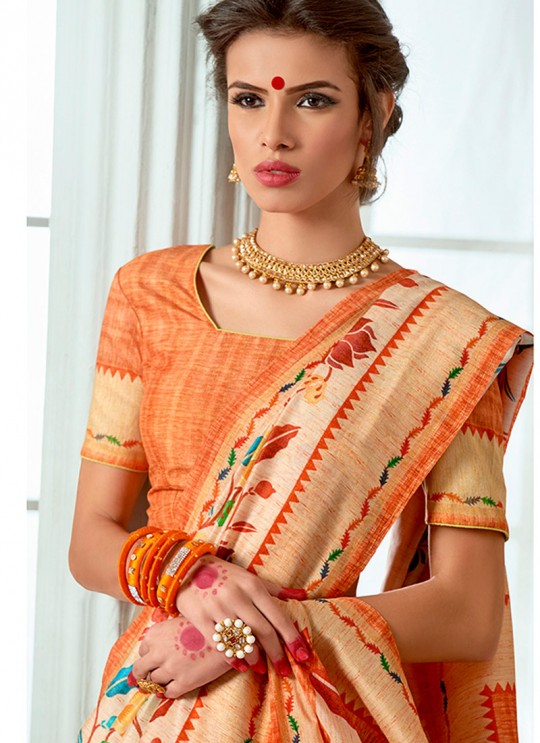 Orange Tussar Silk Party & Festival Wear Digital Printed Sarees Tussar Silk Vol-1 T-1408 By Saptrangi