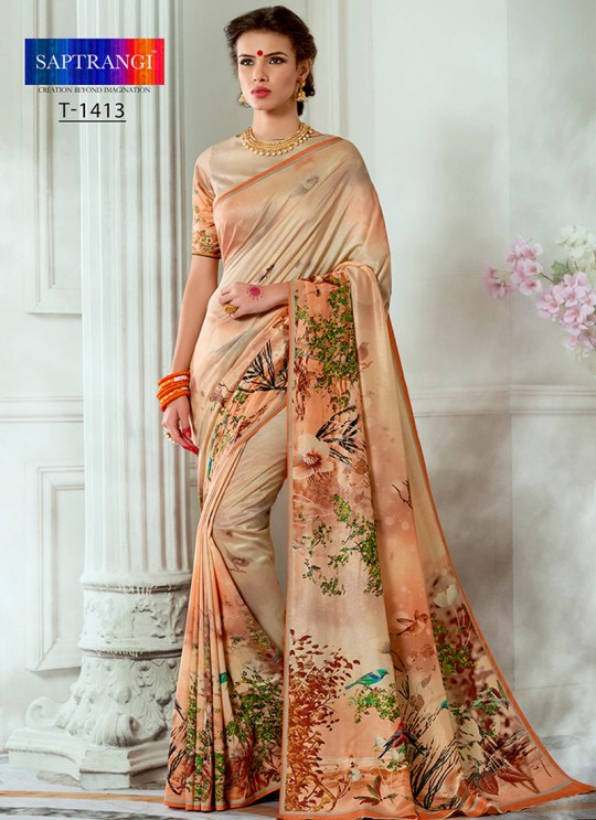 Cream Tussar Silk Party & Festival Wear Digital Printed Sarees Tussar Silk Vol-1 T-1413 By Saptrangi