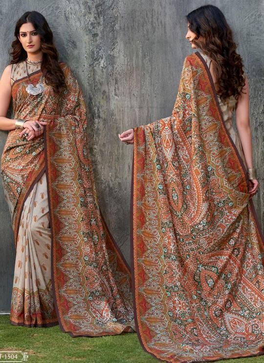 Multicolor Tussar Silk Party & Festival Wear Digital Printed Sarees Signature Saree Collection-2 T-1504 By Saptrangi