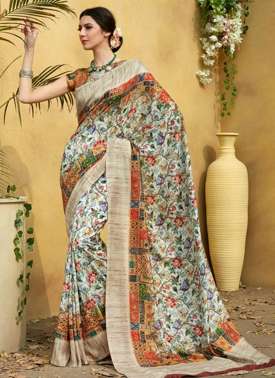 Multicolor Tussar Silk Party & Festival Wear Digital Printed Sarees Signature Saree Collection-2 T-1506 By Saptrangi