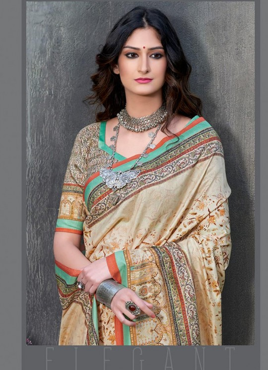 Multicolor Tussar Silk Party & Festival Wear Digital Printed Sarees Signature Saree Collection-2 T-1507 By Saptrangi